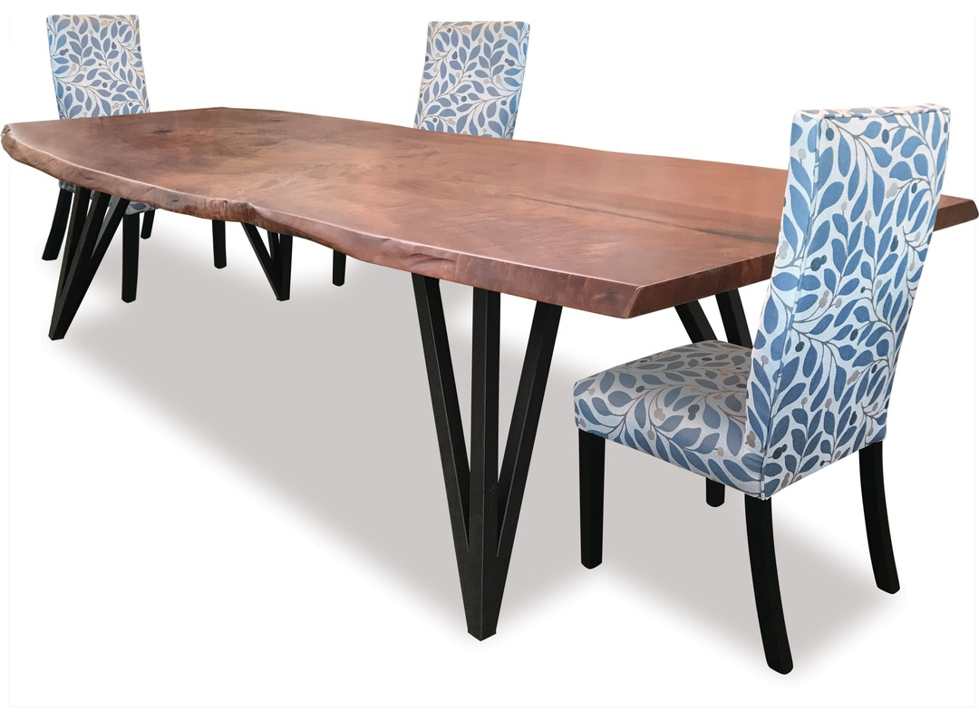1988 Slab Dining Table X3 Blue Chairs Living With Style